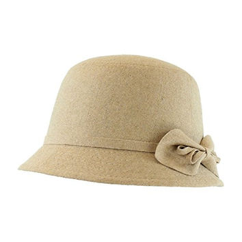 Camel Tan Cloche Bucket Hat for Women w/ Bow in Winter Fabric - Adjustable Size