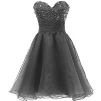 Dresstells Cute Sweetheart Beading Organza Short Prom Cocktail Party Dress for Juniors Size 2 Black