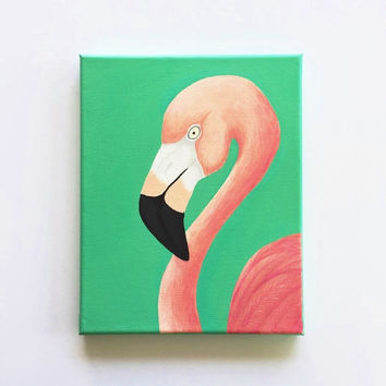 Flamingo art, original acrylic painting, home decor, dorm decor, animal art, pink and teal, 8 x 10