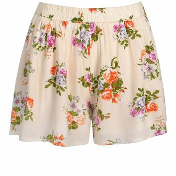 Shorts Women Chiffon Women Shorts Flower Pattern High Waist Summer Girl Cotton Shorts