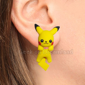 Pikachu Pokemon Handmade Clinging  Earrings