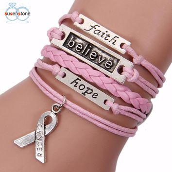SUSENSTONE Pink Gray Bracelet  Lnfinity Love Charm Braided Leather Awareness Ribbon