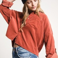 Catalina Oversized Corduroy Button-Up Top