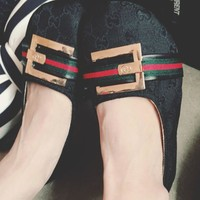 GUCCI metal letters big head doll shoes with flat shoes big shoes Peas shoes boat shoes women's shoes Black