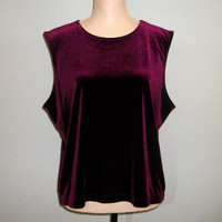Plus Size Top Velvet Top Party Top Sleeveless Top Red Velvet Maroon Burgundy Top Christmas Clothing FREE SHIPPING Size XL Womens Clothing