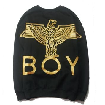 Boy Trending Casual Print Long Sleeve Round Neck Pullover Sweater Golden G
