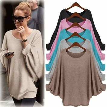 US Womens Batwing Sleeve Knitted Sweater Tops Casual Shirt Loose Blouse Jumper