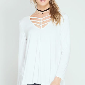 Extraordinary Cage Neckline Basic {Off White}