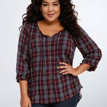 Plaid Challis Pintuck Blouse