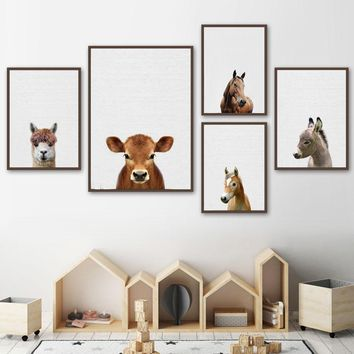 Cute Horse Alpaca Cattle Donkey Wall Art Canvas Posters And Prints Canvas Painting Nordic Animals Wall Pictures Kids Room Decor