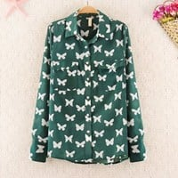 Butterfly Print Chiffon Shirt for Women 1