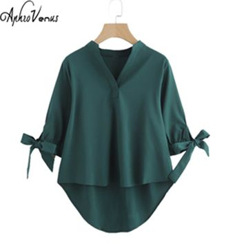 Blusas Mujer De Moda Tie Cuff Dip Hem High Low Blouse Women VNeck Half Sleeve Vogue Top Army Green Collar Bow Blusa Female Shirt