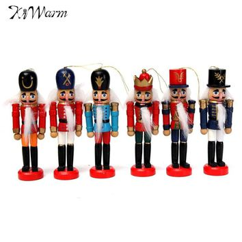 KiWarm 6Pcs Exquisite Colorful Wooden Nutcracker Handcraft for Friends Children Gifts Christmas House Office Home Decor Display