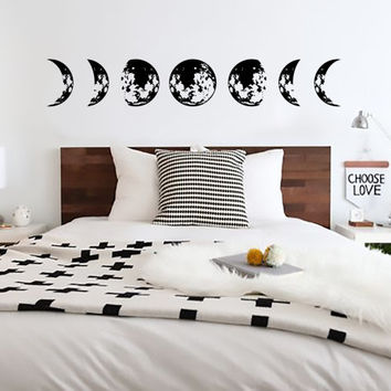 Moon Cycle Wall Decal, Lunar Cycle, Astronomy Decal, Moon Sticker, Crescent moon decal, Full Moon, Waxing Gibbous, New Moon, Hipster Modern