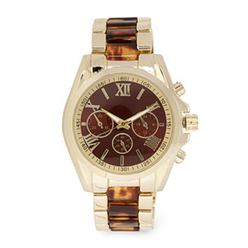 FOREVER 21 Tiger Eye Chronograph Watch Gold/Brown One