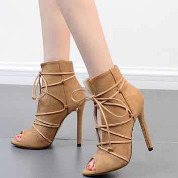 Straps Suede Stiletto Heel Peep-toe Ankle Boot High Heel Sandals