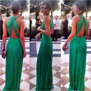 Fashion Women Green Maxi Dress Prom Vestidos = 5617142977