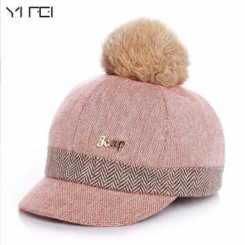 Trendy Winter Jacket Warm Children Winter Baseball Cap 100% Real Rabbit Hair Ball Sports Golf Hat Kid Winter Pompon Equestrian Cap For Girl Boy AT_92_12