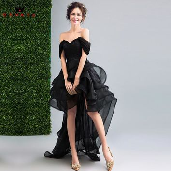 QUEEN BRIDAL Evening Dresses High Low Cap Sleeve Black Short Prom Women Party Dress Evening Gown 2018 Vestido De Festa JW27