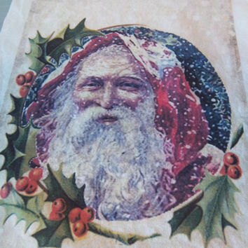Primitive Santa fabric panel handmade sewing supply victorian scrapbooking art journal supply Christmas decoration holiday home decor