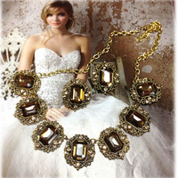 Wedding jewelry , bridal crystal jewelry, Vintage inspired necklace earrings,champagne Topaz jewely set, Golden jewelry, bridesmaid jewelry