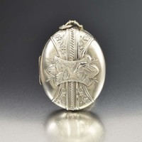 Large Antique Silver Engraved Victorian Locket Ivy Garland