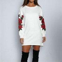 Women Flower Embroidery Long Sleeve Round Neck Mini Dress