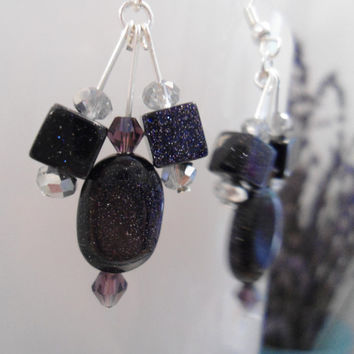 Twilight Sparkle: Purple Sandstone, Blue Sandstone, Swarovski Crystal Earrings, Sparkle Earrings, Twilight Earrings, Purple Earrings