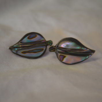 Vintage, Abalone, Sterling SIlver, Screw Back Earrings.