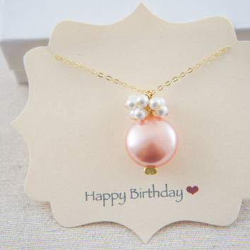 Rose peach pink coin pearl and white pearls necklace with gold vermeil chain, wedding, bridesmaid, mother of bride, gift, message card