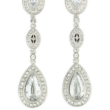 Nadri Rhodium-Plated Cubic Zirconia Drop Earrings