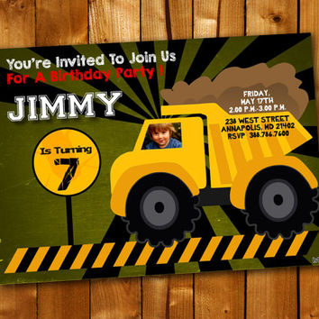 Construction Dump Truck Party Birthday Invitation, Birthday Invitation for little boy and little girl