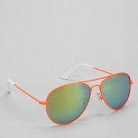 Neon Mirrored Aviator Sunglasses - Urban Outfitters