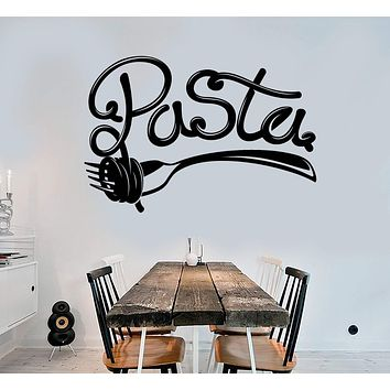 Vinyl Wall Decal Pasta Lettering Fork Italian Food Restaurant Italia Art Stickers Mural Unique Gift (ig5056)