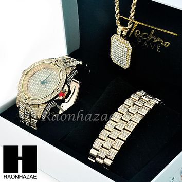 TECHNO PAVE ICED OUT 14K GOLD TONE LAB DIAMOND WATCH BRACELET NECKLACE SET SW202