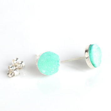 Post earrings, druzy quartz studs, sterling silver, mint green druzy, green earrings, quartz earrings, women's jewelry, 925 silver, 8mm