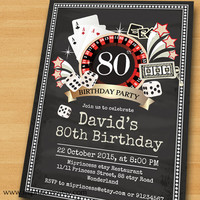 Poker Playing Card birthday invitation, Casino Slot machine jackpot invite for any age 30th 40th 50th 60th 70th 80th card 484