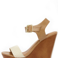 Ready for Lift Off Beige Snakeskin Platform Wedges