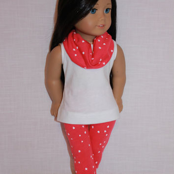 18 inch doll clothes,  doll tank top, heart print cropped leggings with matching infinity scarf,  Upbeat Petites
