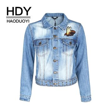 Trendy Haoduoyi Apparel Denim Jacket Streetwear Women Solid Blue Basic Outwear For Ladies Casual Animal Embroidered Loose Female Coat AT_94_13