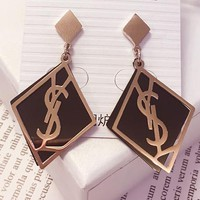 YSL temperament long style pendant personality with hundreds of geometric diamond exaggerated big ear nail letters