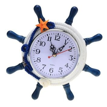 Mediterranean Style Wall Clock Electronic, Wood Clock Star Design