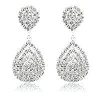 Crystal Dangle Fashion 3D Earring Silver Plated Rhinestone Bridal Prom Formal