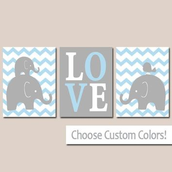 Boy ELEPHANT Nursery Wall Art, Canvas or Prints, Baby BOY Elephant Decor, Twin Boy Bedroom Decor, Blue Gray Elephant Pictures Set of 3