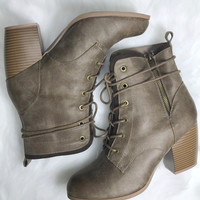 Rosewood Taupe Lace Up Boots