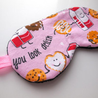 Cute Sleep Eye Mask for Her, Pink Cookies and Milk Eyemask, Blindfold Nap Night Shade, Women Teenage Girl, Soft Polyester Fleece