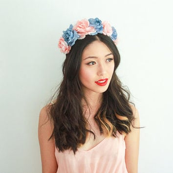 pale pink and pastel blue rose crown - lana del rey, floral headpiece, rose headband, flower crown, floral wreath.