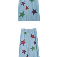 Star Print Denim Long Skirt (Sky Blue) | STYLENANDA