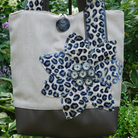 Womens Tote Bag, Navy Tote Bag, Leather Tote, Fabric Bag, Animal Print Tote, Leather Shoulder Bag, Blue Handbag, Large Tote, Fabric Handbag