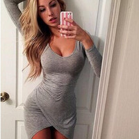 Gray Long sleeve Asymmetric Bodycon Dress